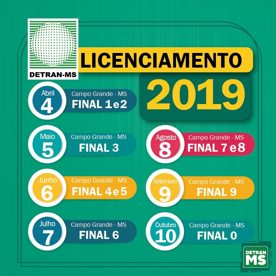 Calendario 2019 Campo Grande Ms.Calendario De Licenciamento Detran Ms